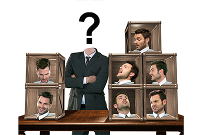 Do you know who you're interacting with? Man choosing which 'person' to be. [Image © crescendo - Fotolia.com]